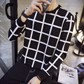 2016 New Arrival Spring Autumn Winter fashion Men's Black and white plaid Hoodies Male Casual O-neck sweatshirt High quality