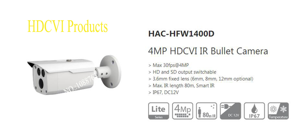 Free Shipping DAHUA HAC-HFW1400D CCTV Camera 4MP HDCVI IR Bullet Camera IP67 without Logo free shipping dahua security camera cctv 4mp hdcvi ir bullet camera ip67 without logo hac hfw1400r vf