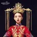 HIMSTORY великолепный оверсайз Ретро Китайский poix Coronet искусственные волосы аксессуары Павлин винит шоу свадебные волосы