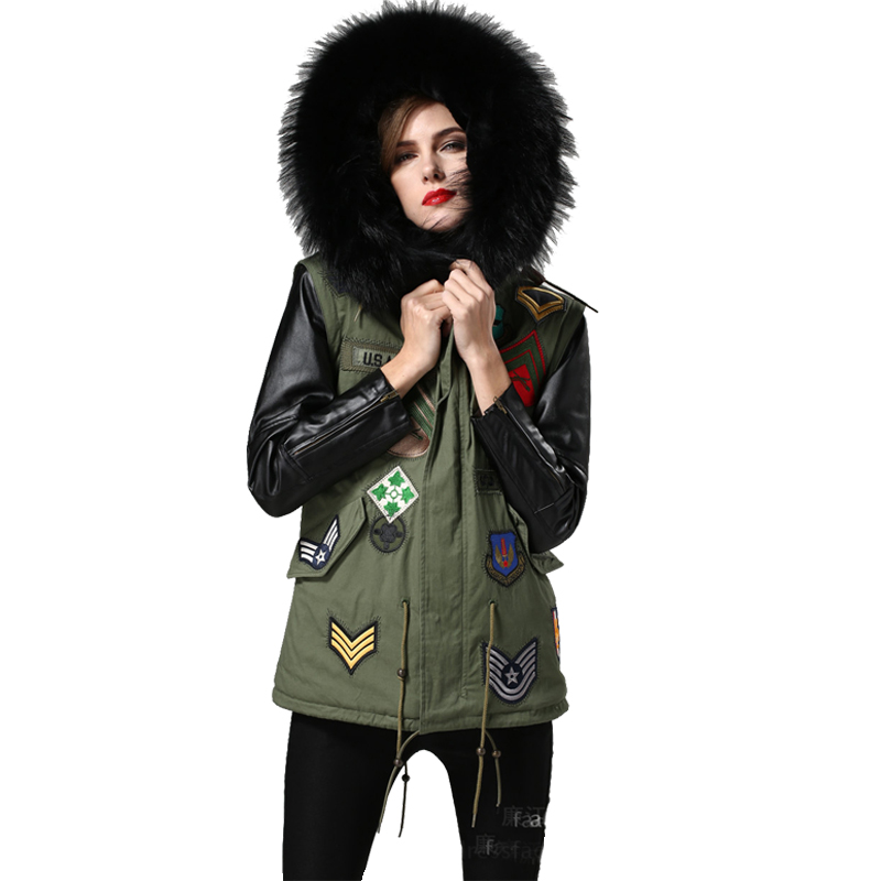 Women Winter Parkas Army Green Thicken Coat Real Large Fur Raccoon Collar Fashion Hooded Jackets Long Leather Sleeve Outwear 2XL 2017 winter new clothes to overcome the coat of women in the long reed rabbit hair fur fur coat fox raccoon fur collar