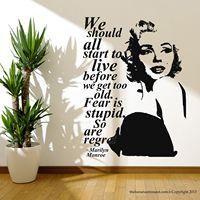 マリリン·モンローの引用後悔壁デカールステッカーの装飾簡単取り外し可能なステッカー送料無料