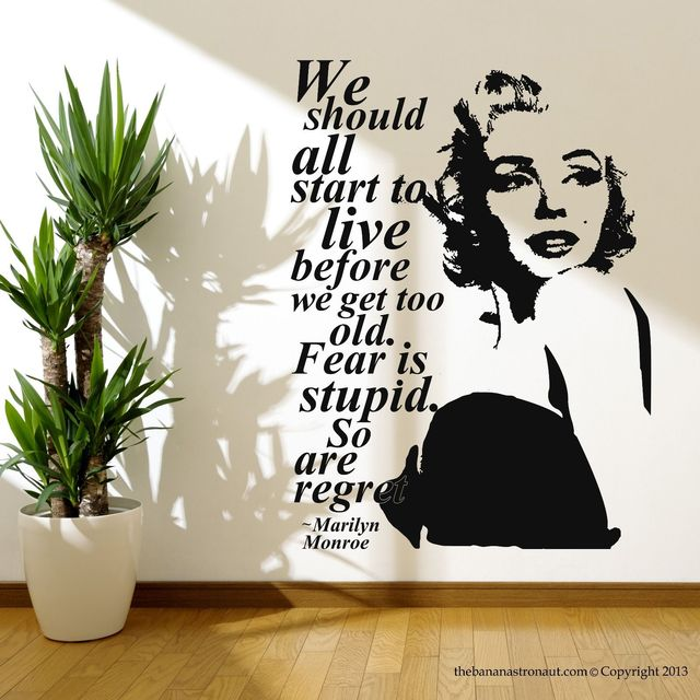 Marilyn Monroe Quote Regret Wall Decal Stickers Decor Easy Removable  Sticker Free Shipping