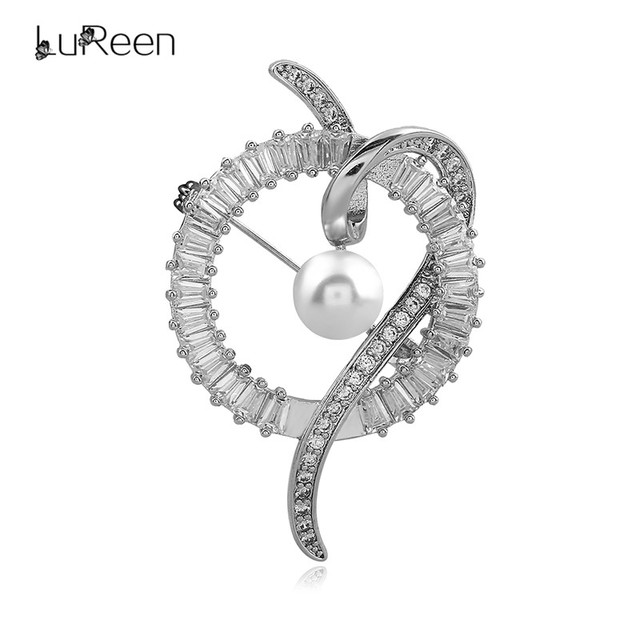 Good LuReen Luxury Round Cubic Zirconia Silver Brooches For Women Simulated  Pearl Rhinestone Christmas Brooch Pins Jewelry