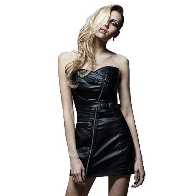 Punk Rock Black Strapless Dress