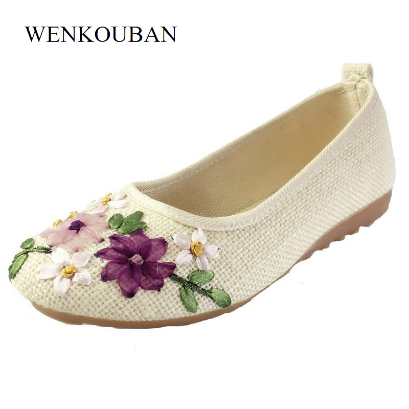 Embroidery Shoes Women Ballet Flats Summer Mocassins Loafers Ladies Causal Shoes Slip On Flat Shoes Ballerina Zapatos Mujer 2018 women flats summer shoes fashion owl print canvas ladies ballet flat casual breathable slip on shoes zapatos mujer