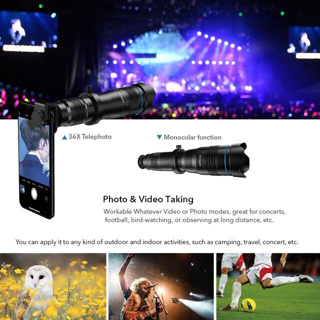 APEXEL HD 36x télescope zoom lentille monoculaire + selfie trépied pour iPhone Samsung smartphones voyage chasse randonnée sport dropshippi