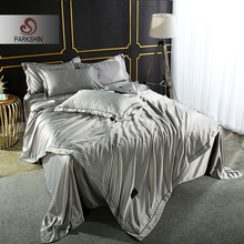 ParkShin Luxury Silver Gray Bedding Set 100% Silk Home Textiles Soft Comfort Duvet Cover Silky Bed With Flat Sheet 4pcs