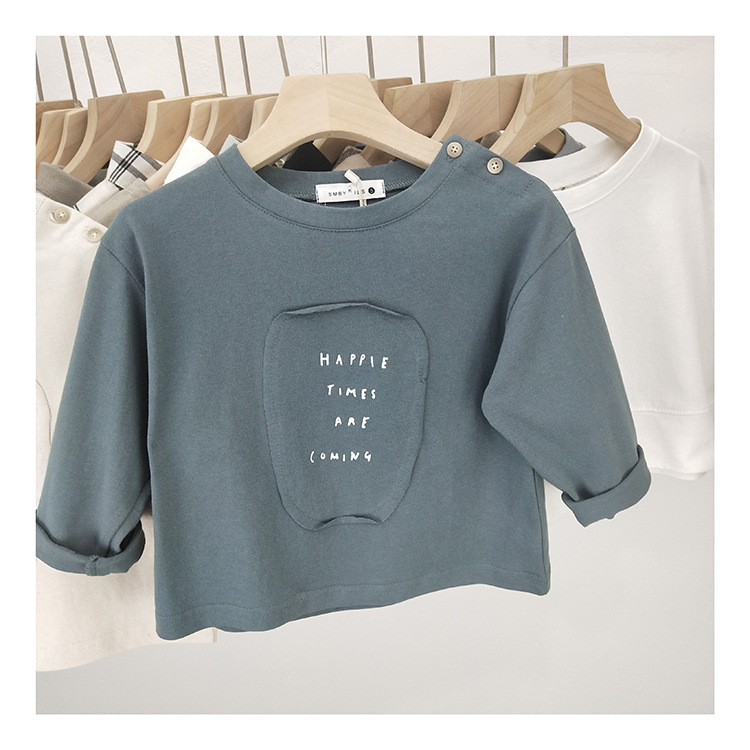 T-Shirts Spring Long-Sleeve Korean-Style Kids Tops Applique Boys Cotton Casual Letter