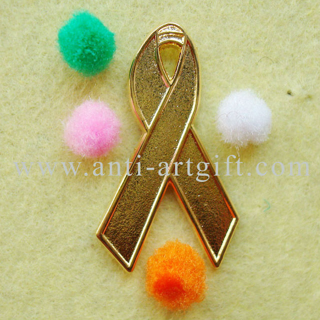 US $146 0 |Custom Cancer hard enamel gold metal Ribbon brooch Aids  Awareness Recessed Sandblast design ribbons OEM/ODM service -in Pins &  Badges from