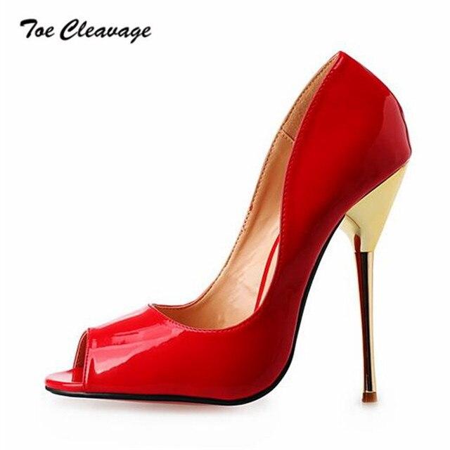 98bdfe25f5 Toe Cleavage stilettos Summer Shallow shoes woman sexy 14cm Metal Thin  Heels Wedding Peep Toe Pumps Plus size US15 16 17 18 19