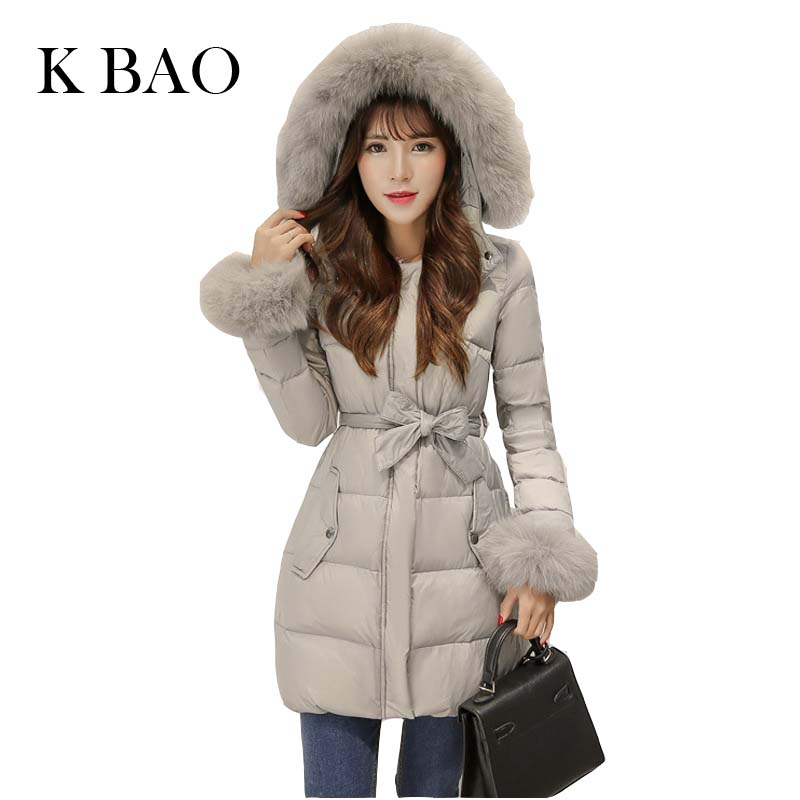 2017 New Winter Fox Soft Real Fur Collar New Women's coats Fashion Parka Girls coat Padded Slim Women Coats school female 2017 winter new clothes to overcome the coat of women in the long reed rabbit hair fur fur coat fox raccoon fur collar