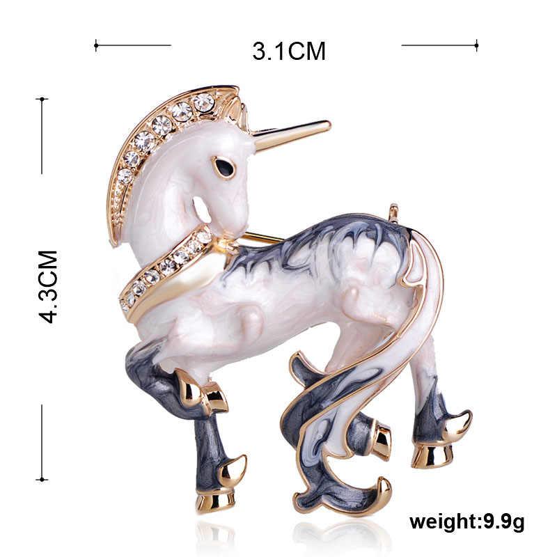 Funmor Enamel Putih Beruntung Kuda Unicorn Bentuk Bros Warna Emas Wanita Pria Rhinestone Hewan Perjamuan Pesta Bros Pin Hadiah