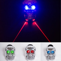 Q121Sales MTB Skull Taillight Bike LED Light Laser Safety Warning Lights Mountain Bike Riding Bicycle Accessories