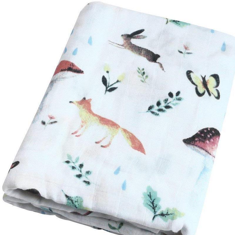 Ins Hot 100% Bamboo Fiber Muslin Baby Blankets Rabbit & Mushroom Blanket Bedding Swaddle For Newborn Swaddling Bath Towel