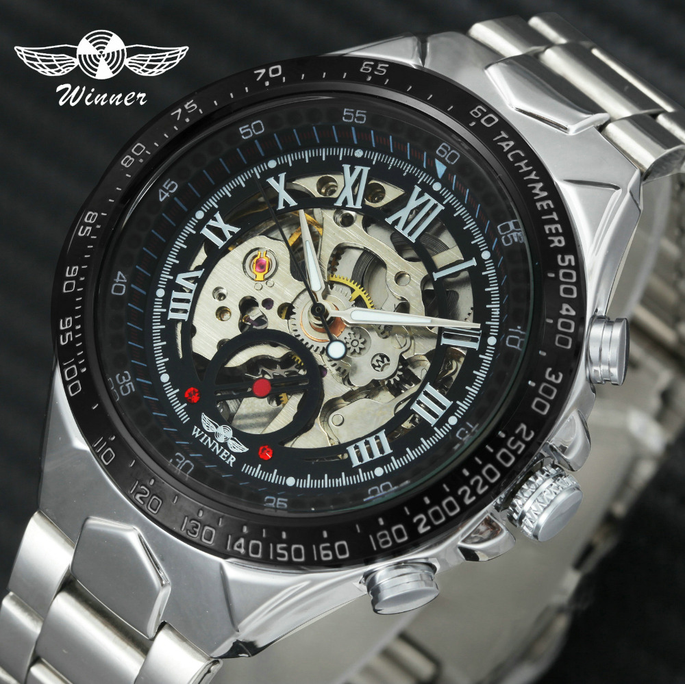 WINNER Sport Watch Men Full Steel Strap Top Brand Luxury Auto Mechanical Wristwatch Skeleton Dial Luminous Hands Fashion Clock|Mechanical Watches| |  - title=