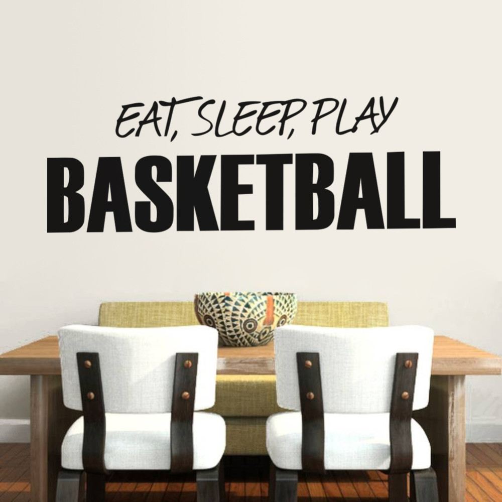 Eat Sleep Play Basketball Words Wall Sticker For Kids Room Home Decoration  Home Decal Boys