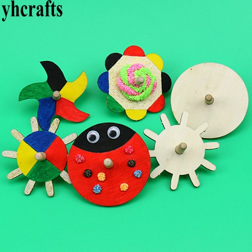 10pcs/lot.paint Unfinished Spin Top Wood Gyro Kindergarten Arts And Toys Classic Toy Early Learning Educational Crafts Wholesale Sheets