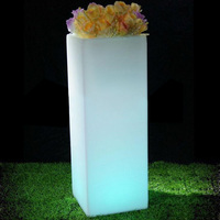 Colorful LED Light Flower Pot Plastic led Planters Vasi for Outdoor SK LF13G Free shipping 1pc