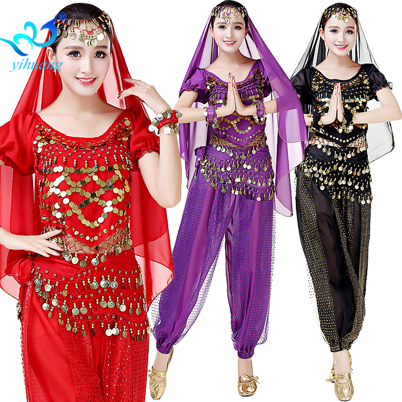Women Festival Performance Suit Oriental Belly Dance Costume Bollywood Party Pants Egyptian Dancewear Outfits Set 11 Colors