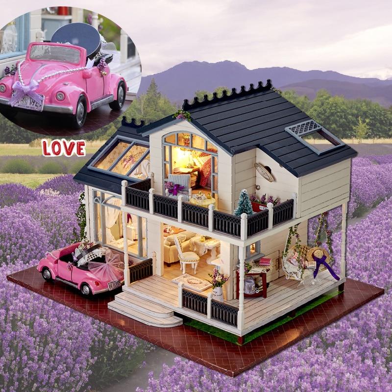 DIY Model domek dla lalek Casa miniaturowy domek dla lalek w meble LED 3D drewniany domek do zabawy dla dzieci prezent Handmade rzemiosło A032 # E w Domy dla lalek od Zabawki i hobby na  Grupa 1