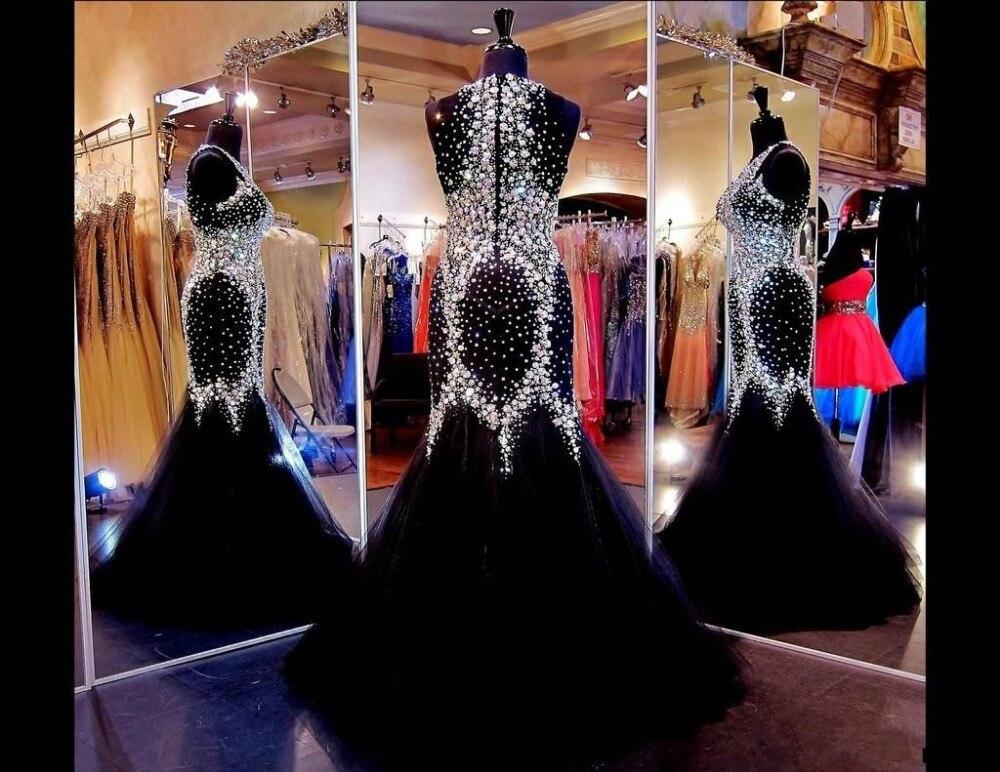 New Sexy Crew Neckline Crystal Backless Mermaid Beach Party   Prom     Dresses   Elegant Floor Length Hot Sale Custom Made Vestidos