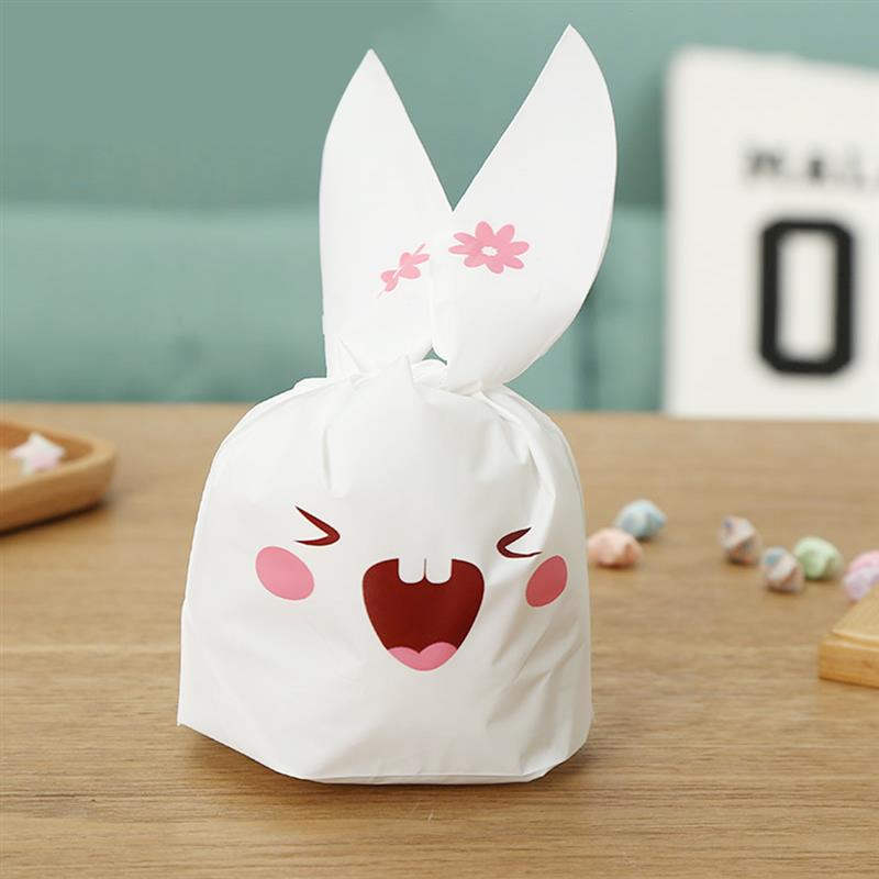50pcs Cute Long Bunny Rabbit Ears Gift Bag Easter Candy Gift Set Plastic Party Favors Cookie Snack Birthday Decoration Kids Gift