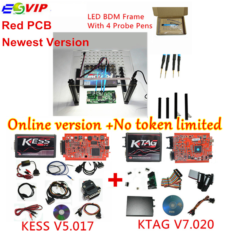 Discount full set KESS V5.017 V2.23+KTAG V7.020 V2.23+LED BDM Frame No Token Limited KESS 5.017+K-TAG 7.020 ECU tool 2017 online ktag v7 020 kess v2 v5 017 v2 23 no token limit k tag 7 020 7020 chip tuning kess 5 017 k tag ecu programming tool