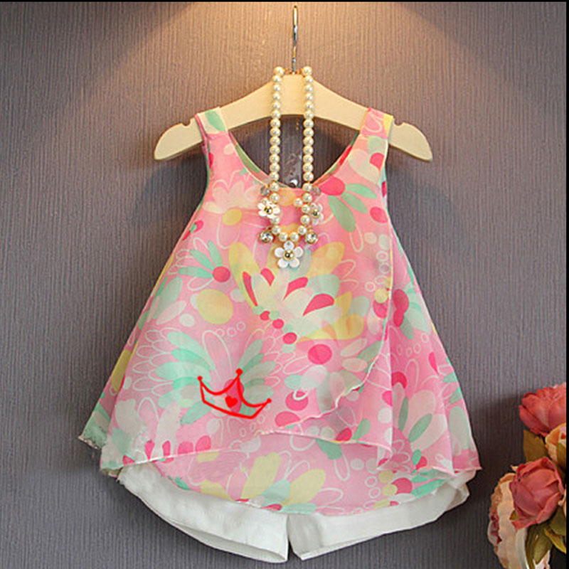 2016 summer Korean toddler girl kids clothing print chiffon top + Shorts suit 2 piece Set for girls children casual clothes sets