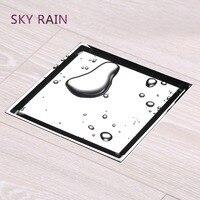 SKY RAIN Floor Drain Brass Square Shower Drainer Smart Tile Insert Square Grates Bathroom Drains Strainers