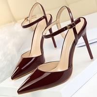 Hight Talones Slingbacks Bombas de las mujeres de Moda de Cuero de La Pu Mujeres Superficiales zapatos de Tacón Zapatos de Mujer Zapatos de las Bombas 10 CM Stiletto