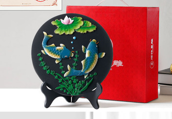 Removal formaldehyde Purify air -TOP business gift -office home Bamboo charcoal gold fishes Lotus flower decoration Sculpture