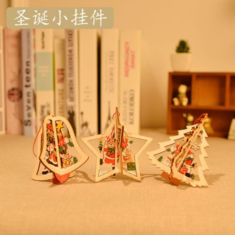 Quailty Christmas Wooden Hanging Tree Bell Decoration Xmas Home Wall Ornaments Christmas Tree Hanging Pendant Holiday Supplies