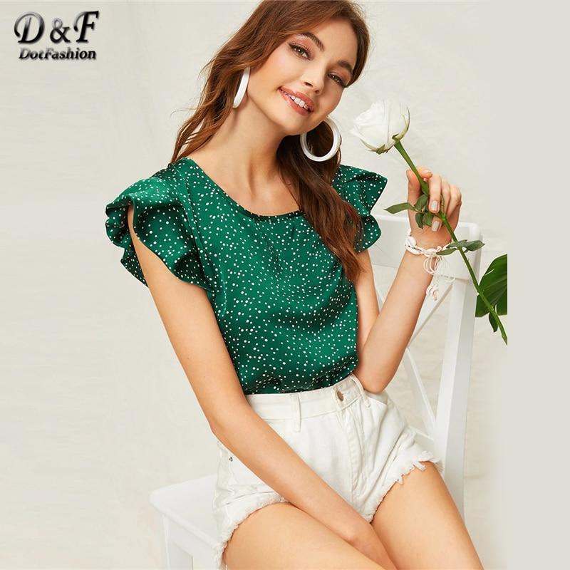 Dotfashion Green Butterfly Sleeve Polka Dot Blouse Summer 2019 Cute Cap Sleeve Korean Fashion Clothing Womens Tops And Blouses
