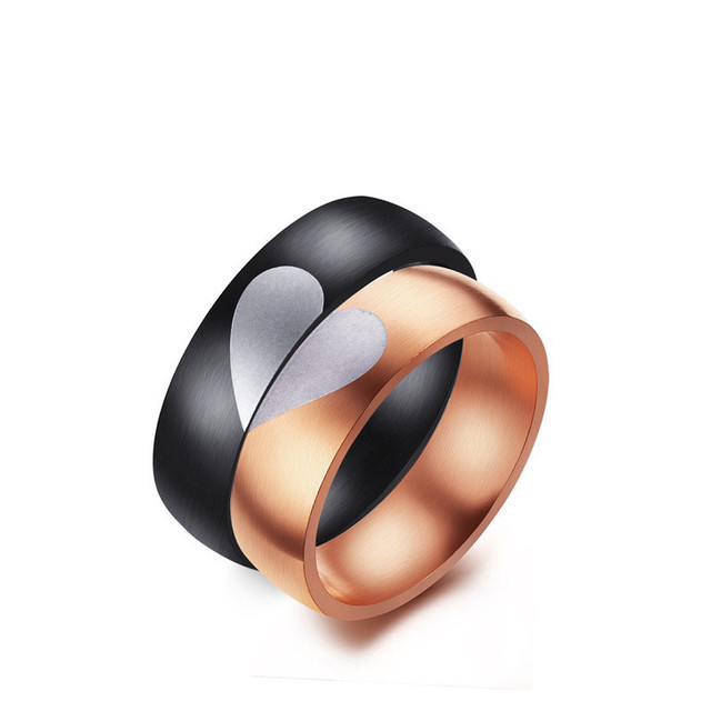 romantic titanium steel heart puzzle couple rings fashion black gunrose gold color lovers rings - Puzzle Wedding Rings