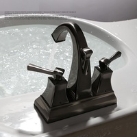 4 Inch Kitchen Faucets Brass Brushed Black Faucet Swivel Double Handles Three Hole Sink Taps Hot