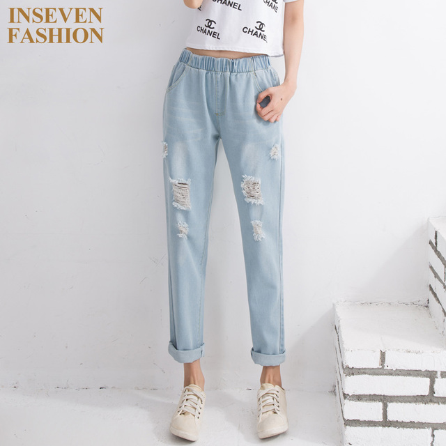 a8cb6921519 New Casual Fashion Female Ripped Jeans Elastic Waist Loose Boyfriend Style  Women Plus Size Distressed Denim