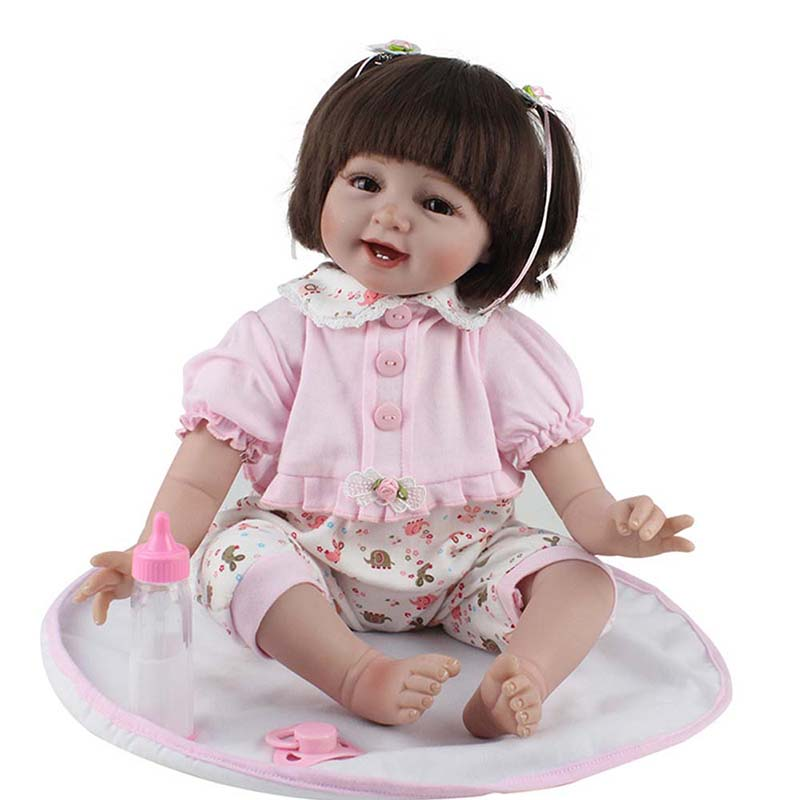 22 Inch Smile Girls Dolls Handmade Soft Silicone Princess Doll Realistic Vinyl Reborn Baby Doll Toy for Children Birthday Gifts 23 real baby dolls handmade full silicone reborn doll alive soft vinyl baby princess dolls toys for girls children kid gifts