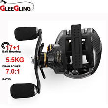 GLEEGLING Professional 17+1BB Baitcasting Fishing Reel 7.0:1 Bait Casting Reels Left / Right Reel One Way Clutch Fish Pesca Reel