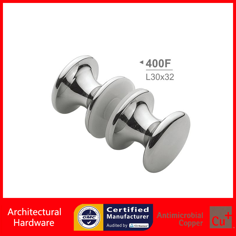 Shower Door Handle Double Side Fixing Chrome Plated Copper Drill Hole 12mm in Glass For 6~12mm Glass Thickness PA-400CFH chrome plated modern handle c c 192mm l 218mm h 23mm drawers cabinets