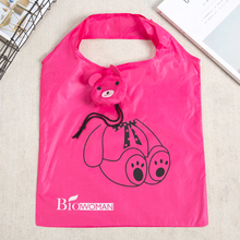 Red Bear Cute Animal Shape Folding Shopping Bag Eco Friendly Ladies Gift Foldable Reusable Tote custom bags with logo