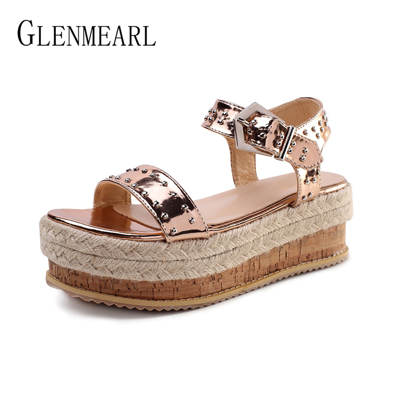 Women Sandals Wedges Shoes Platform Buckle Strap Summer Sandals Casual Shoes High Heels Gold Sliver Peep Toe Sandalia Mujer 2019