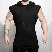 Men Bodybuilding Hooded Tank Top sleeveless Sweatshirt Summer Gyms Fitness Workout Casual Fashion Brand Tops Crossfit Clothing