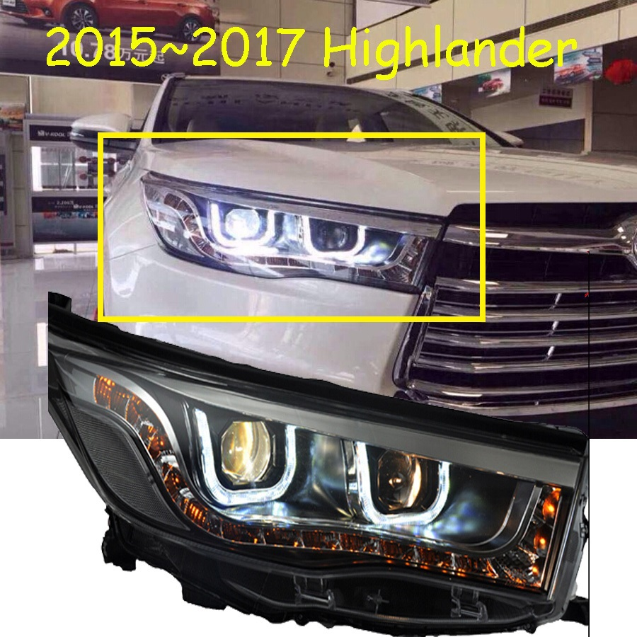 2015 2017 toyota highlander headlight with bi xenon projector lens hid bulb 2pcs option ballast free ship highlander fog light in car light assembly from