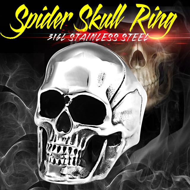 STAINLESS STEEL SKULL BIKER RING