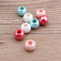 Wholesale 100PCs 10 12MM Big Hole AB Colors Acrylic Pearl Spacer Beads Fit Bracelet Necklace Earring