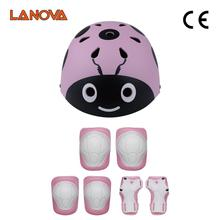 ФОТО LANOVA Lovely Protective Gear Set Kids Beetle helmet Knee Elbow Pads Wrist Protector Protection for Scooter Cycling Roller Skate