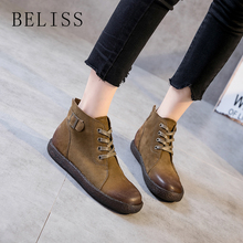 BELISS 2018 soft genuine leather ankle boots women lace up autumn winter flat casual boots female buckle fashion female shoe B84 стоимость
