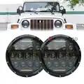 2 шт. 7 светодиодный комплект фар для вождения автомобиля H4 Сменные лампы фар с DRL фары проектор Освещение для Jeep Wrangler JK