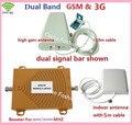 Dual Band Repetidor GSM 900 Mhz Impulsionador + 3G WCDMA 2100 Mhz Repetidor Reforço Dual Band Kits W/Cable & Antena, Repetidor de Sinal de Celular
