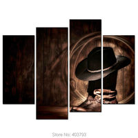 Figure Paintings Wall Art American West Rodeo Cowboy Hat and Boots 4 Panel Picture Print On Canvas For Modern Home Decor